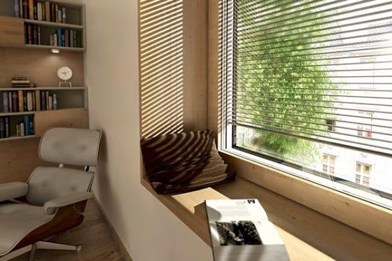 Kényelmes olvasósarok Internorm ablakkal, beépített árnyékolóval